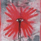 2013 Ink, litho pencil on red posterboard 14x20
