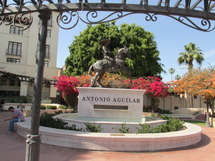 A monument dedicated to L.A.s first Hispanic entertainer, Antonio Aguilar.