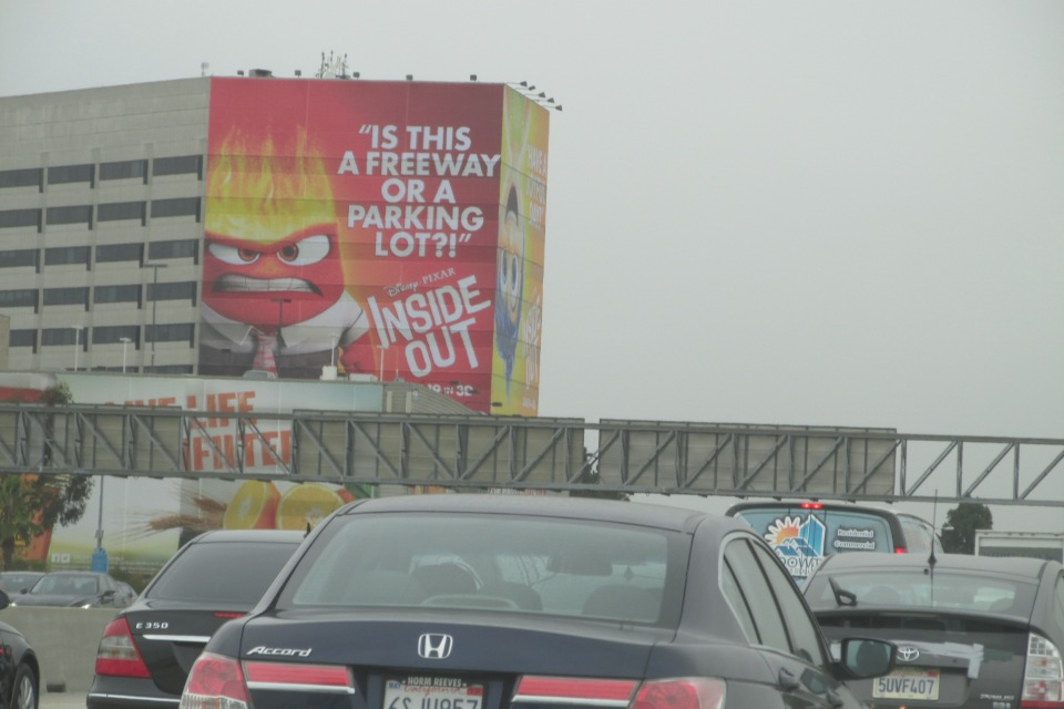 Movie poster for the upcoming Pixar movie INSIDE OUT. Pretty much says it all about LA freeways.  ;)