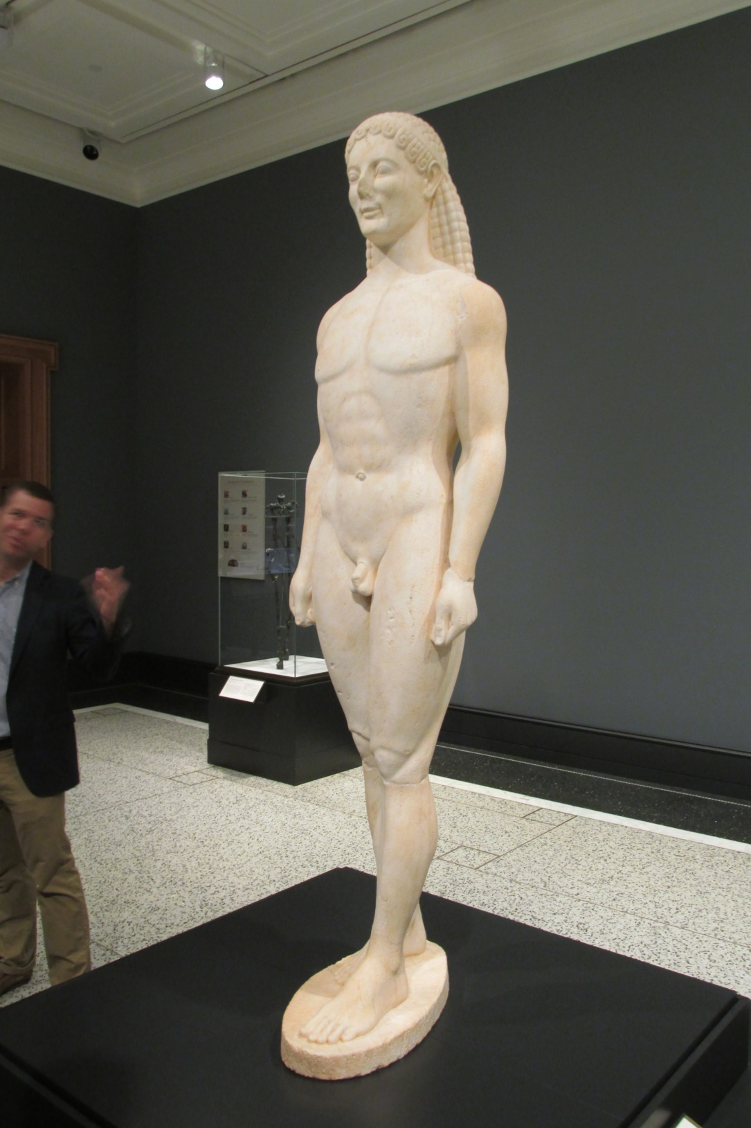 The Kouros.  Early attempt to depict the human figure in sculptural form.  Not bad for first try.