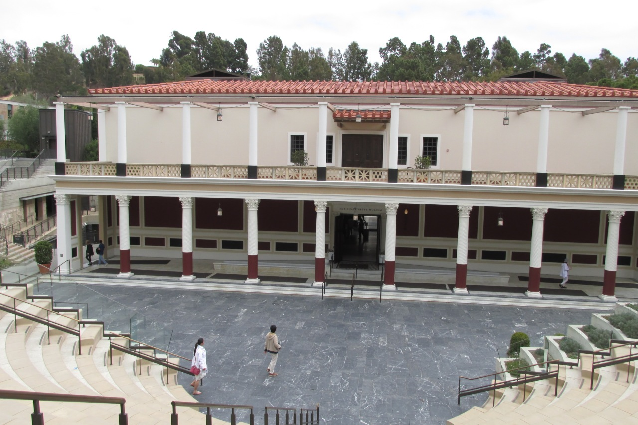 View of the villa entrance from top of the outdoor amphitheater, which was of course inspired by the Greeks.