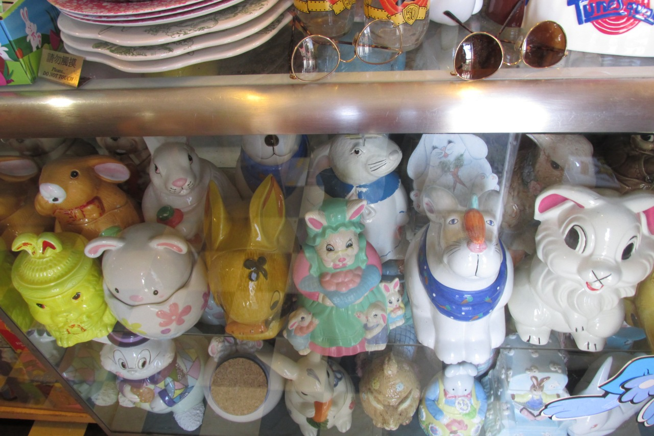 Bunnies comes in all shapes sizes and materials here.  Even Cookie Jars.
