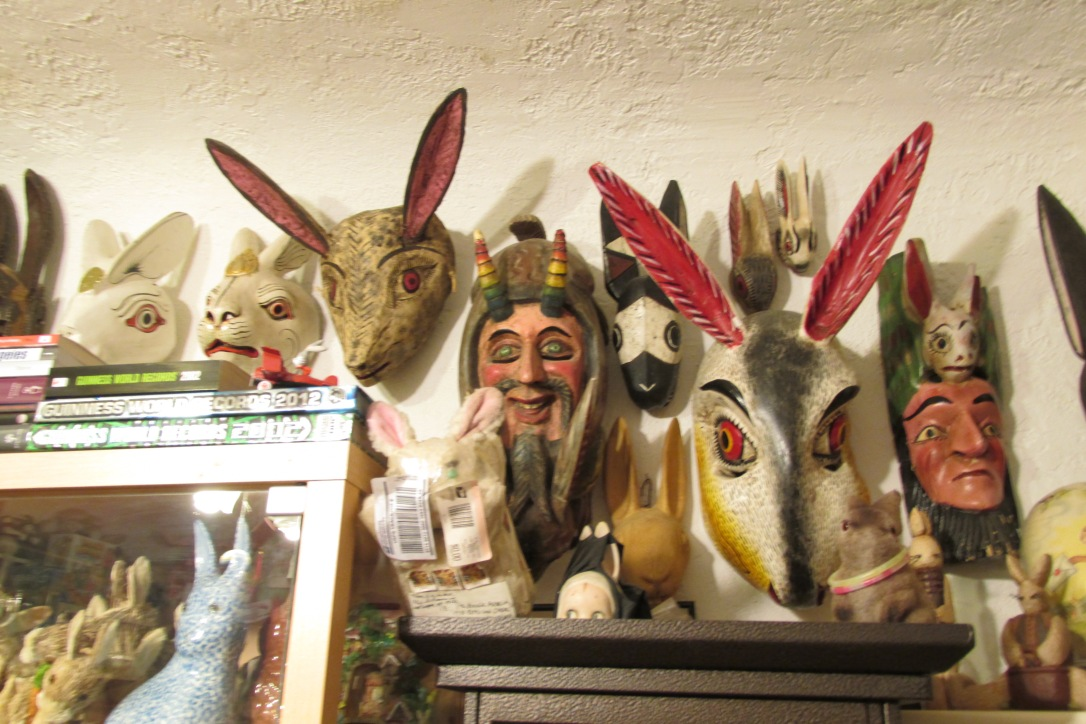 Some creepy looking rabbit inspired masks.  Collected from various regions around the world, they are carved out of wood.
