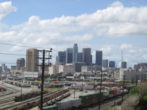 A great view of downtown LA from the top floor of that Brewery building.