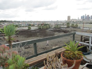 Some lucky artists gets a really cool open rooftop space, and he's free to make it his home...