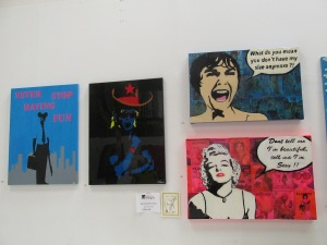 Some Andy Warhol inspired paintings. Recognize any of the images here?